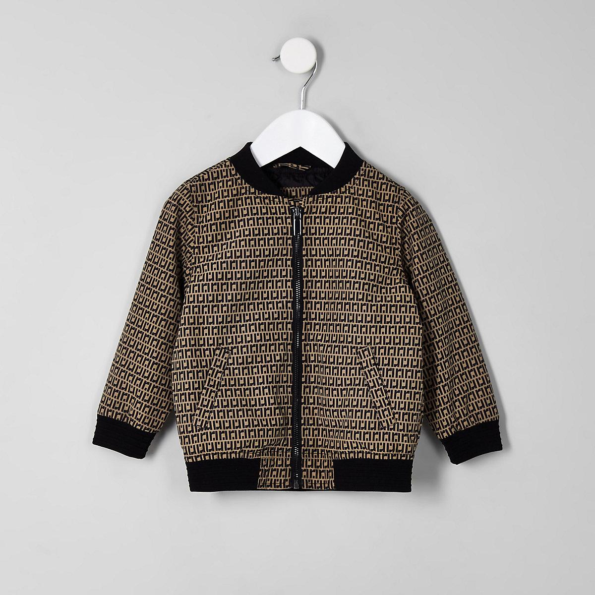 Mini boys brown RI bomber jacket