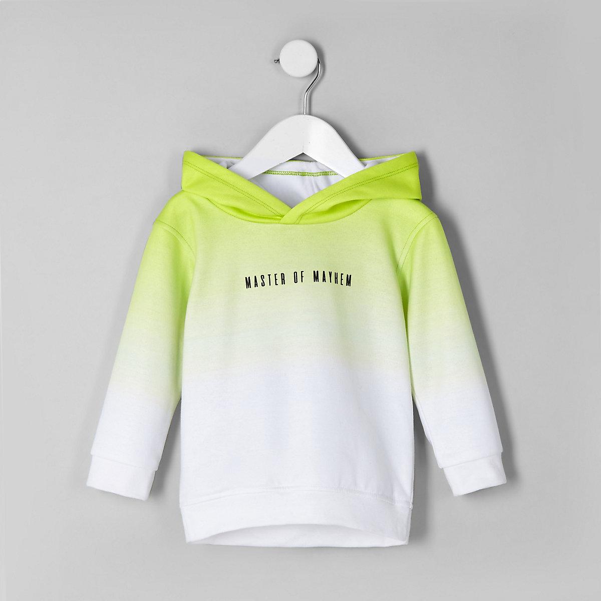 Boys lime green 'master of mayhem' hoodie