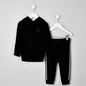 Mini - Outfit met zwarte hoodie van velours met R96-print voor jongens