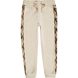 Pantalon de jogging grège à bandes latérales camouflage pour garçon