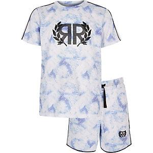 Ensemble avec t-shirt en maille bleu pour garçon