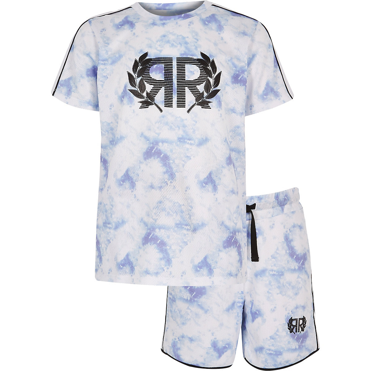 Boys blue mesh T-shirt outfit