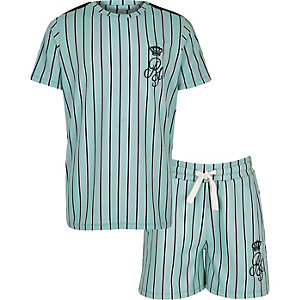 Boys green stripe RI short outfit