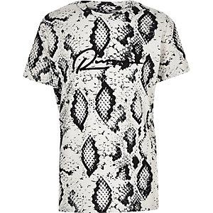 Kiezelkleurig T-shirt met slangenprint voor jongens