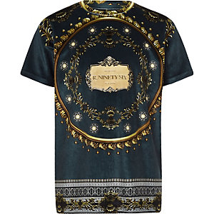 Boys navy baroque velour T-shirt