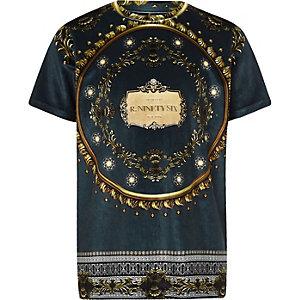 Marineblauw velours T-shirt met barokprint voor jongens