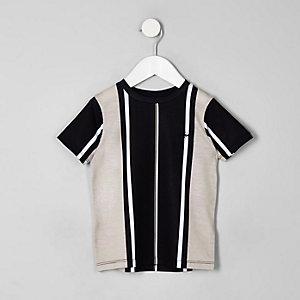 Mini - Zwart T-shirt met verticale strepen voor jongens