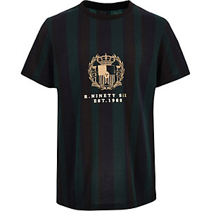 Boys green R96 stripe T-shirt
