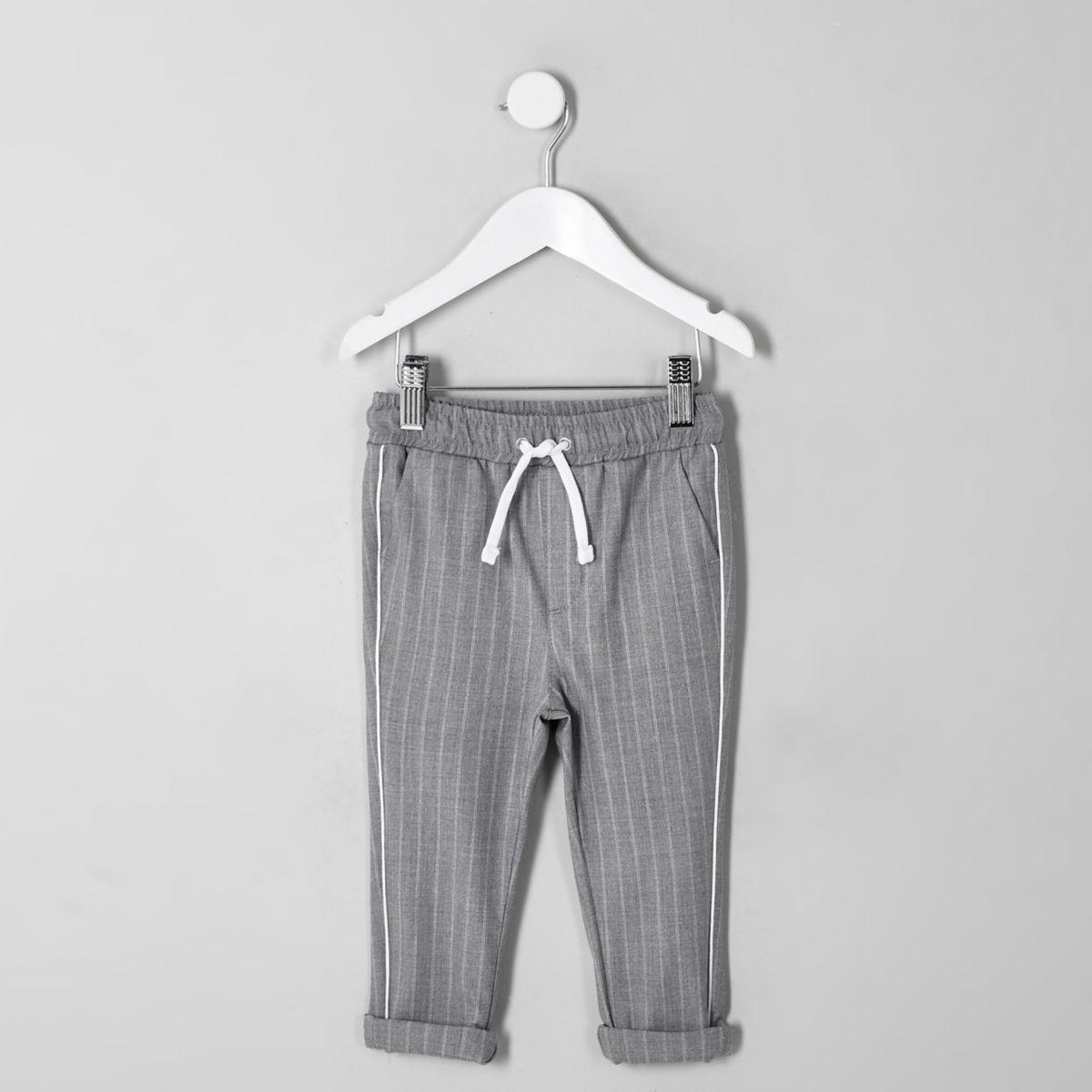 Mini boys grey pinstripe pants