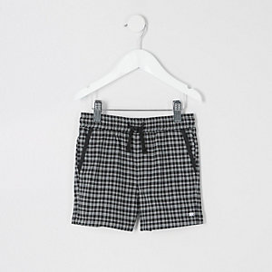 Mini boys black check shorts