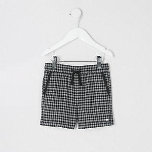 Mini - Zwarte geruite short voor jongens