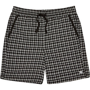 Boys black check shorts
