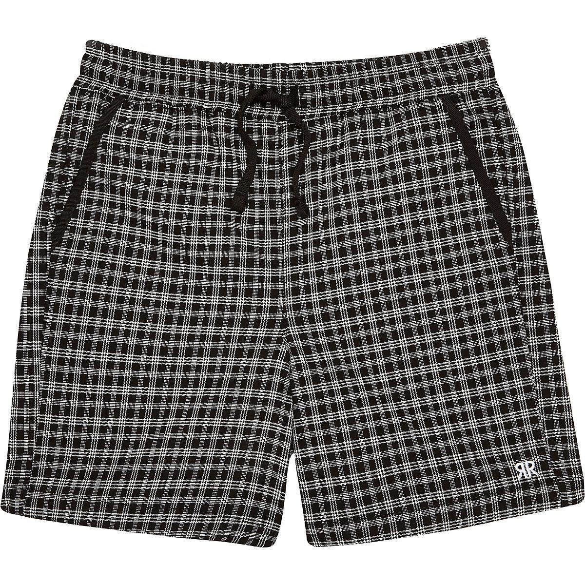 Boys black check shorts