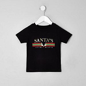 """Mini – Schwarzes T-Shirt """"Santa's Helper"""""""