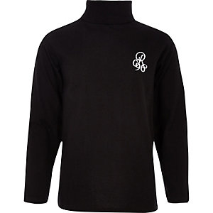 Boys black 'R96' roll neck top