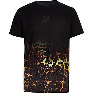 Zwart vervaagd T-shirt met luipaardprint voor jongens