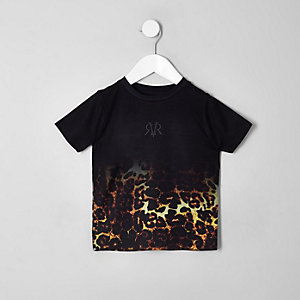 Mini boys black leopard print faded T-shirt