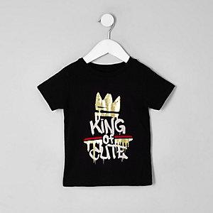 Mini - Zwart T-shirt met 'King of cute'-print voor jongens
