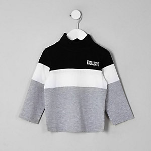 Mini boys black block roll neck top