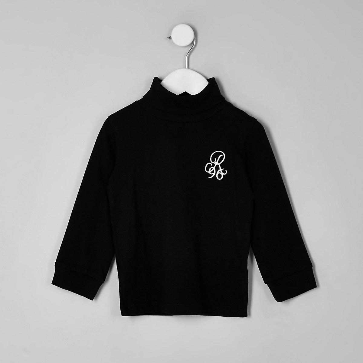 Mini boys R9 black roll neck top