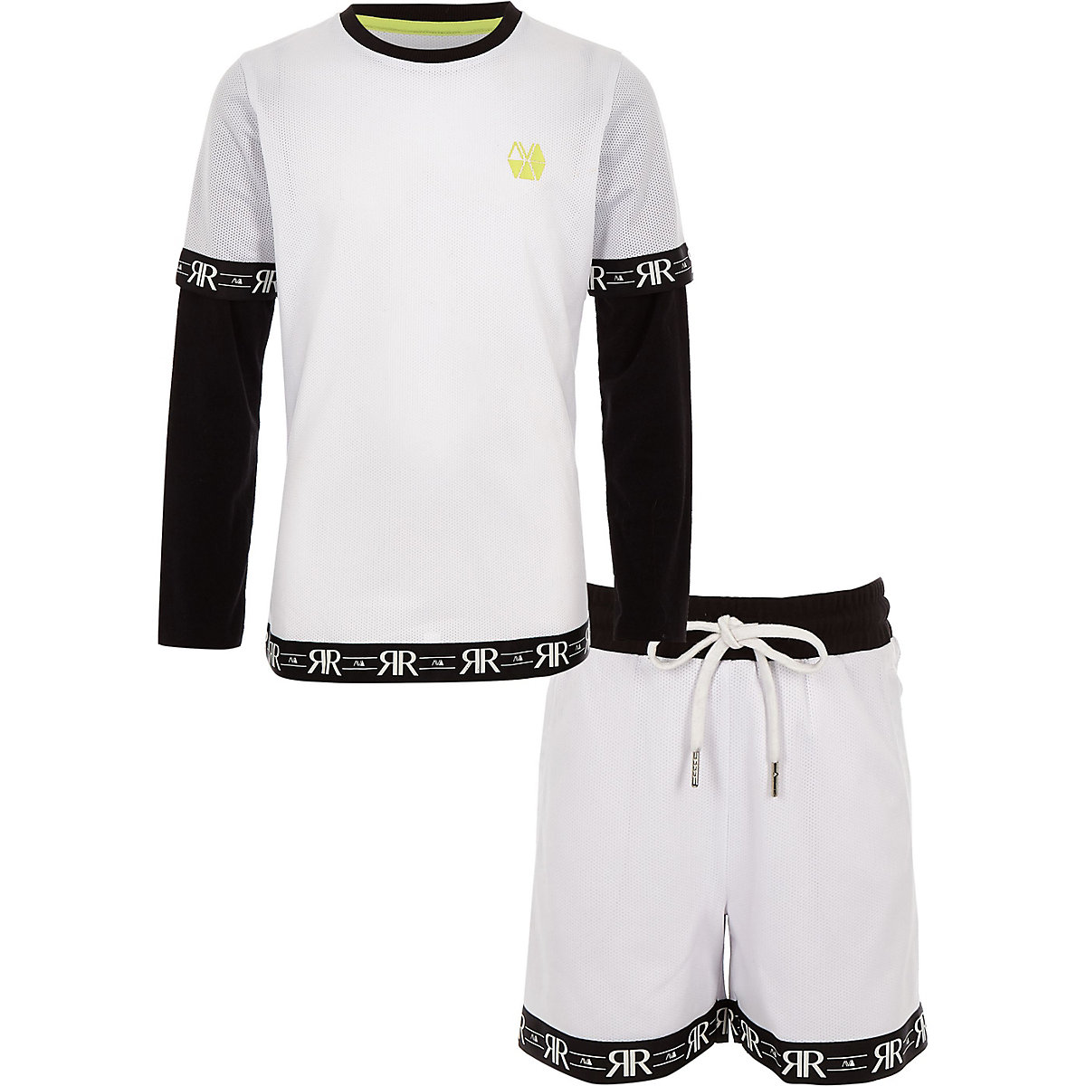 Boys RI Active white mesh short outfit