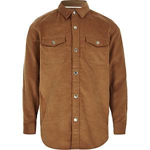 Chemise en velours côtelé marron clair pour garçon