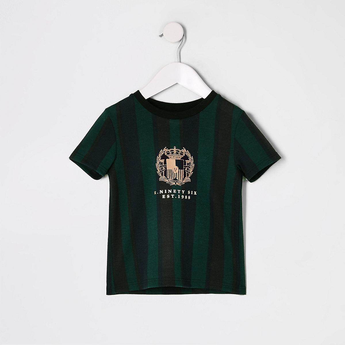 Mini boys green stripe embroidered T-shirt