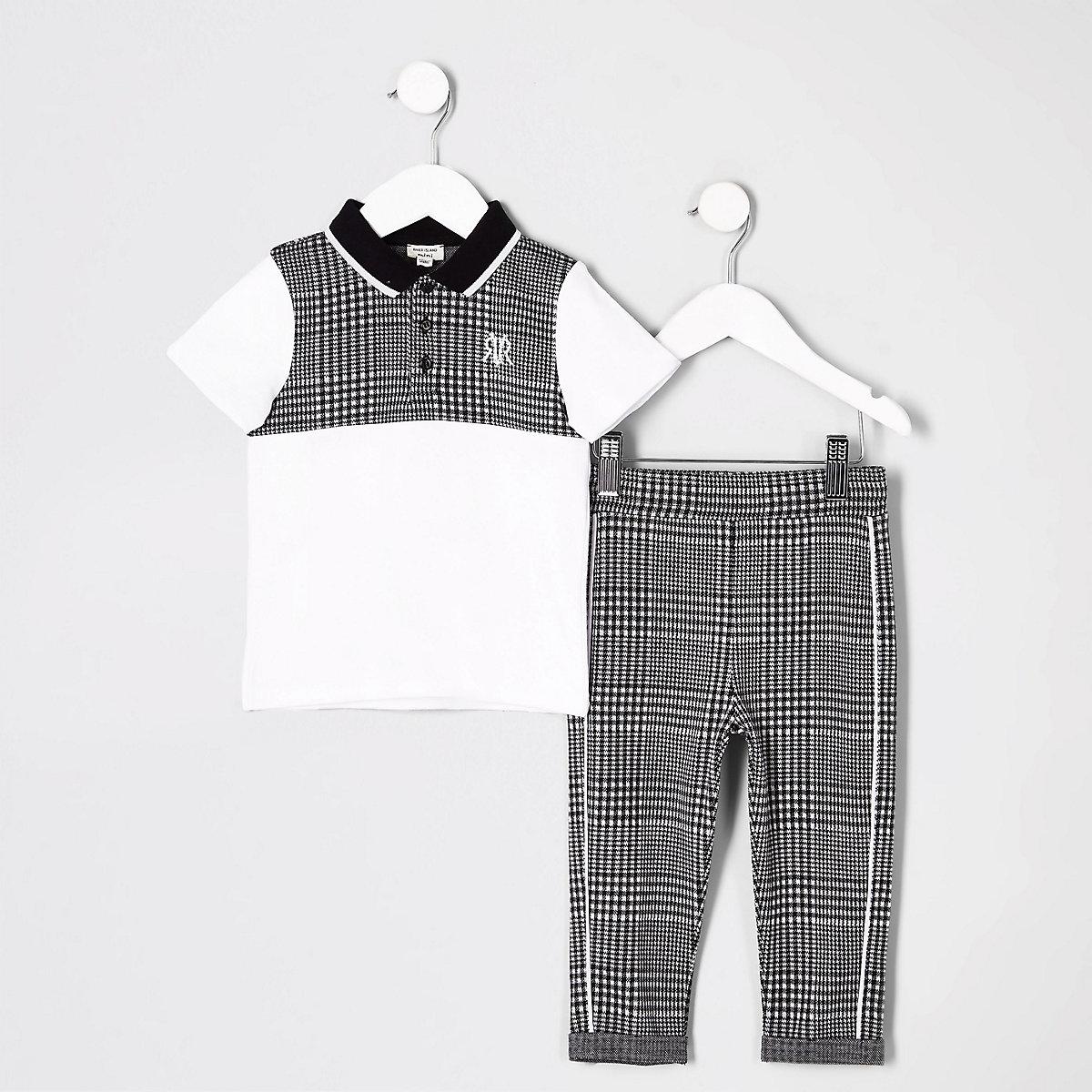 Mini boys grey check polo shirt outfit