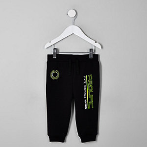 Mini boys black 'Prolific' neon print jogger