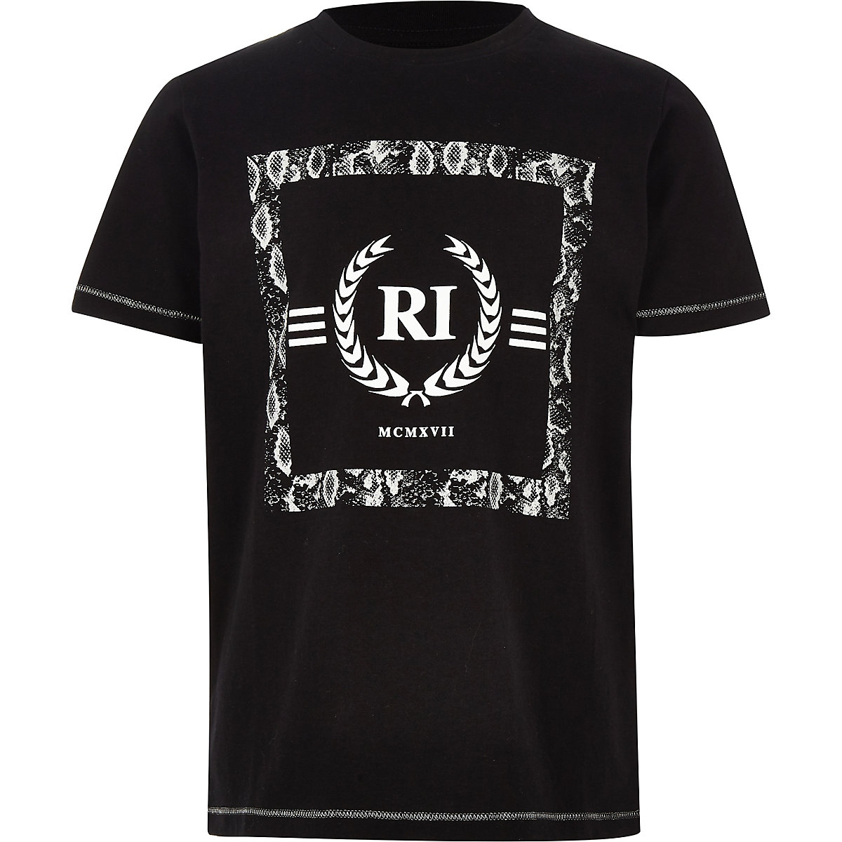 Boys black RI short sleeve T-shirt