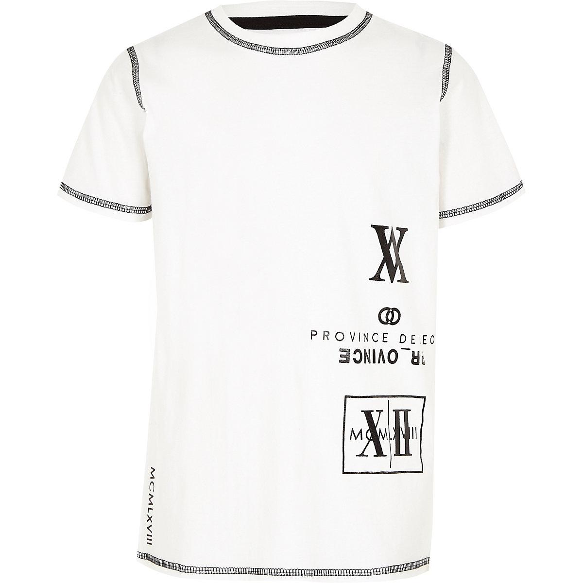 Boys white numerical print T-shirt