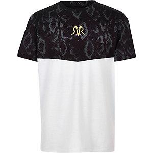 Wit T-shirt met geblokte slangenleerprint voor jongens
