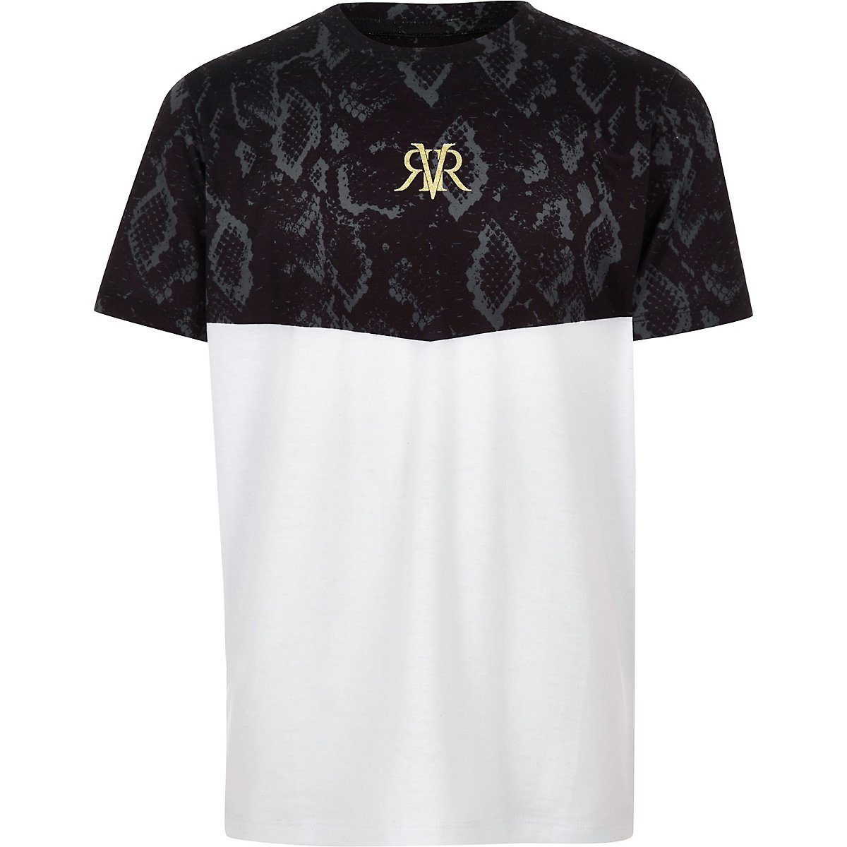 Boys white block snake print T-shirt