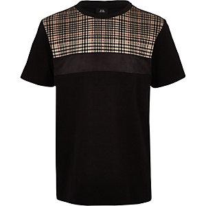 T-shirt color block à carreaux noir pour garçon