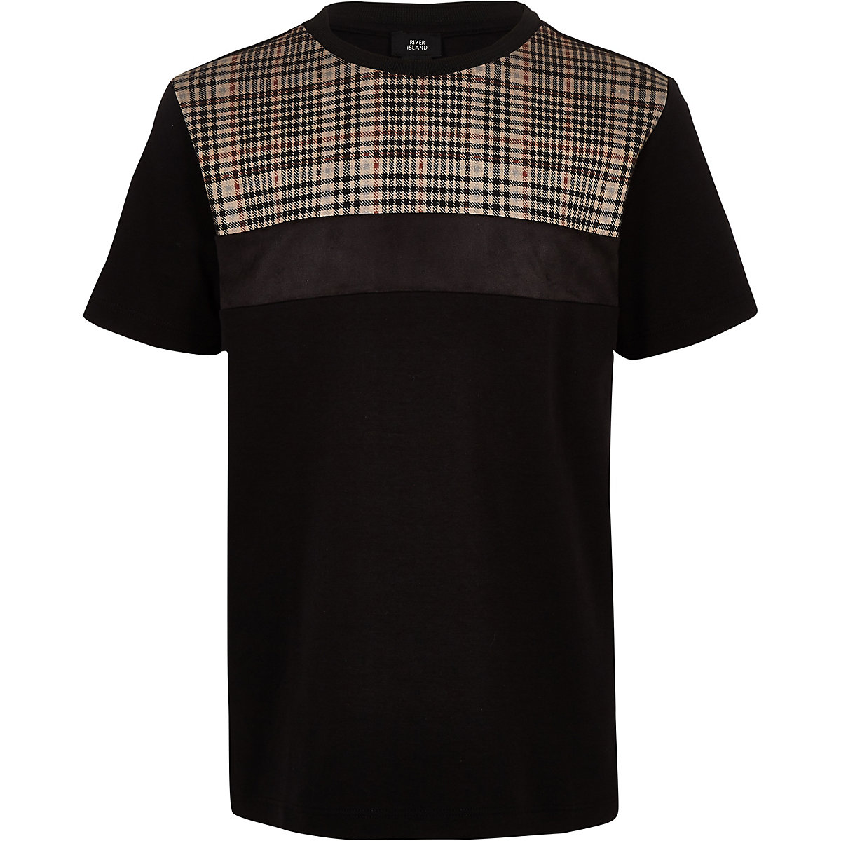 Boys black check block T-shirt