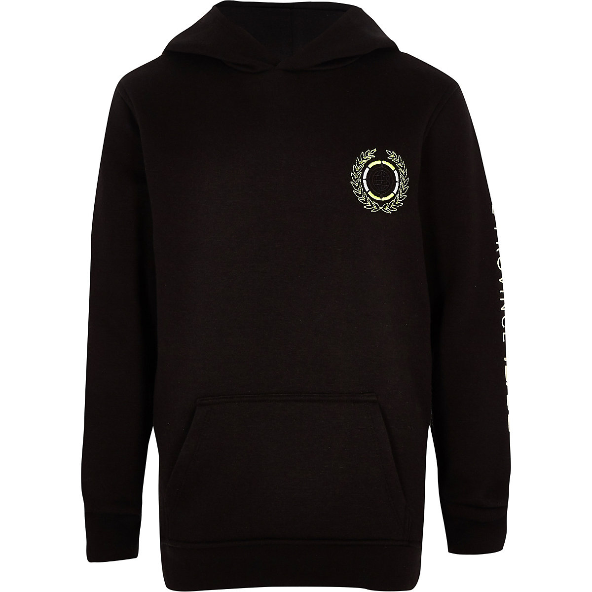 Boys black embroidered hoodie