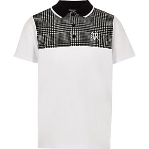 Boys grey check blocked polo shirt