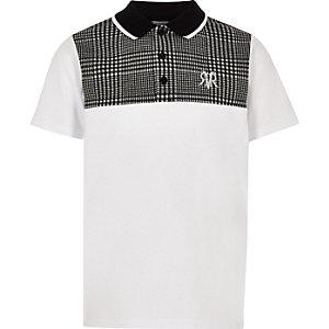 Polo à carreaux gris colour block pour garçon