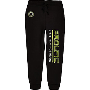 Boys black 'Prolific' neon print joggers