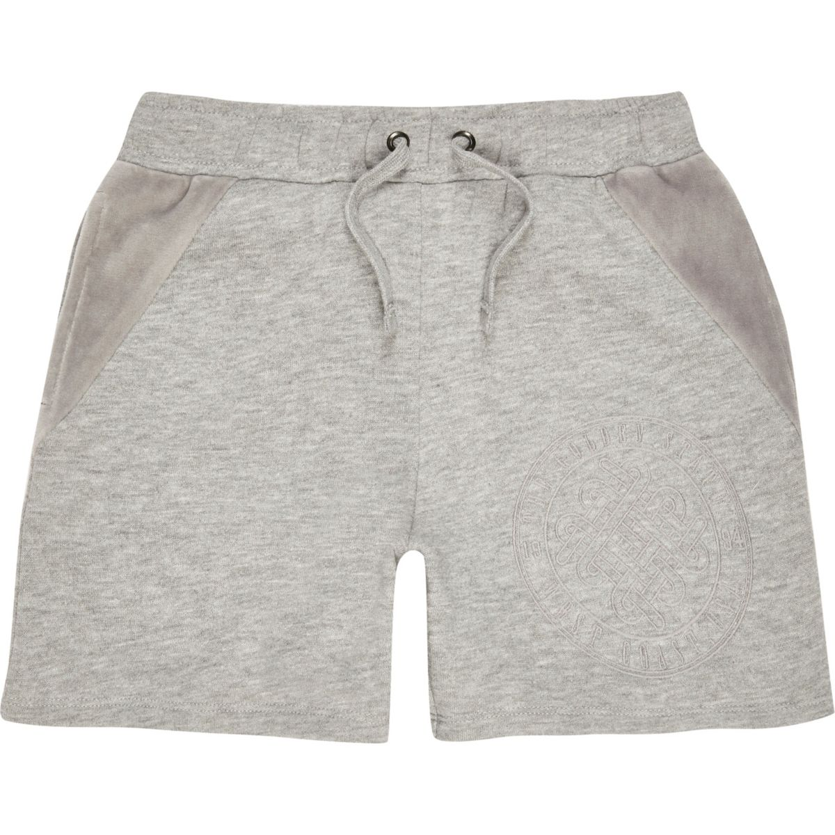 Boys grey velour panel shorts