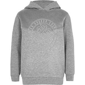 Boys grey velour block hoodie