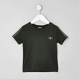 Mini - Kaki T-shirt met geborduurde wesp voor jongens