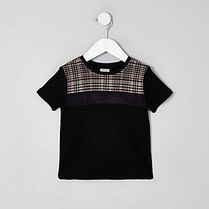 T-shirt colour block à carreaux noir mini garçon