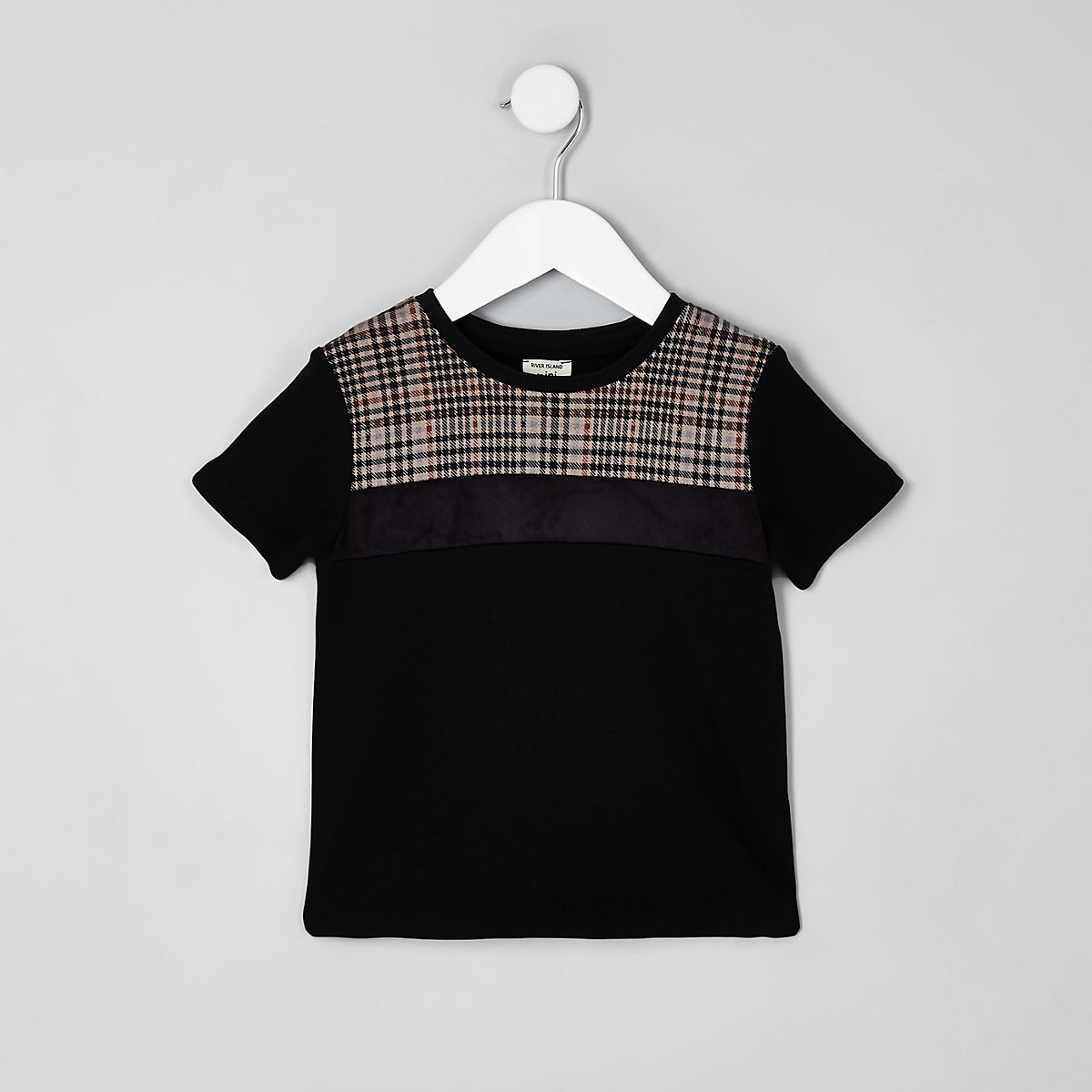 Mini boys black check block T-shirt