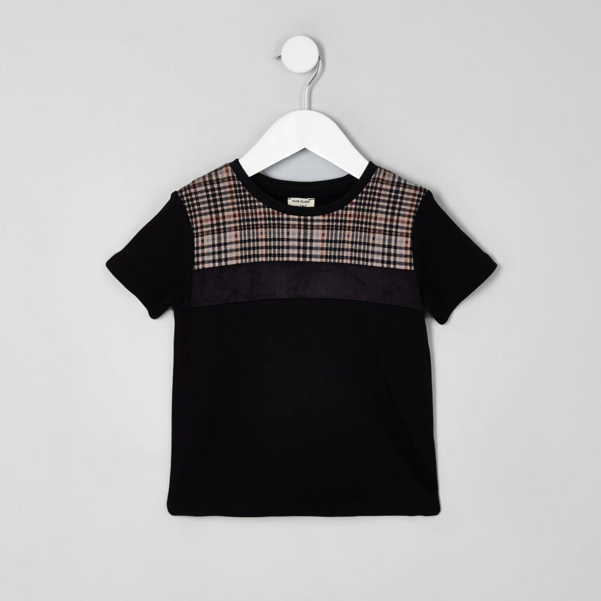 Mini boys black check block T-shirt