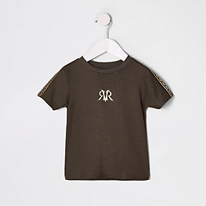 T-shirt à bande RI marron mini garçon