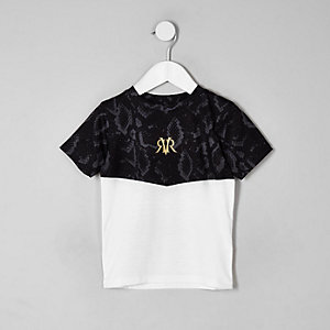 Mini boys white snake print blocked T-shirt