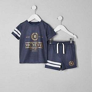 Mini - Outfit met marineblauwe short met RI logo en mesh voor jongens