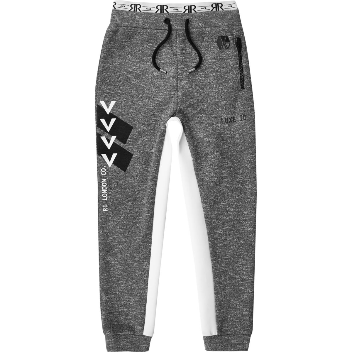 Boys RI Active grey marl block joggers