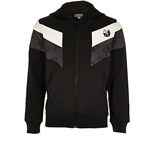 RI Active - Zwarte hoodie met blokprint en rits voor jongens
